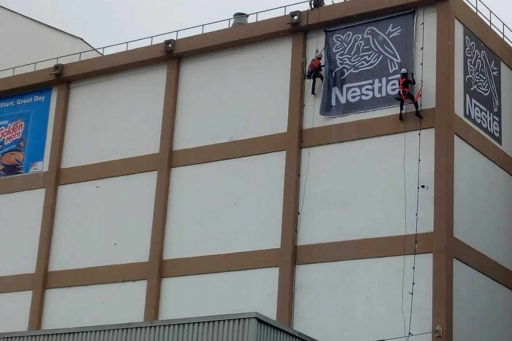 Chemoclean services offers Installation of Signboard on High-rise Wall